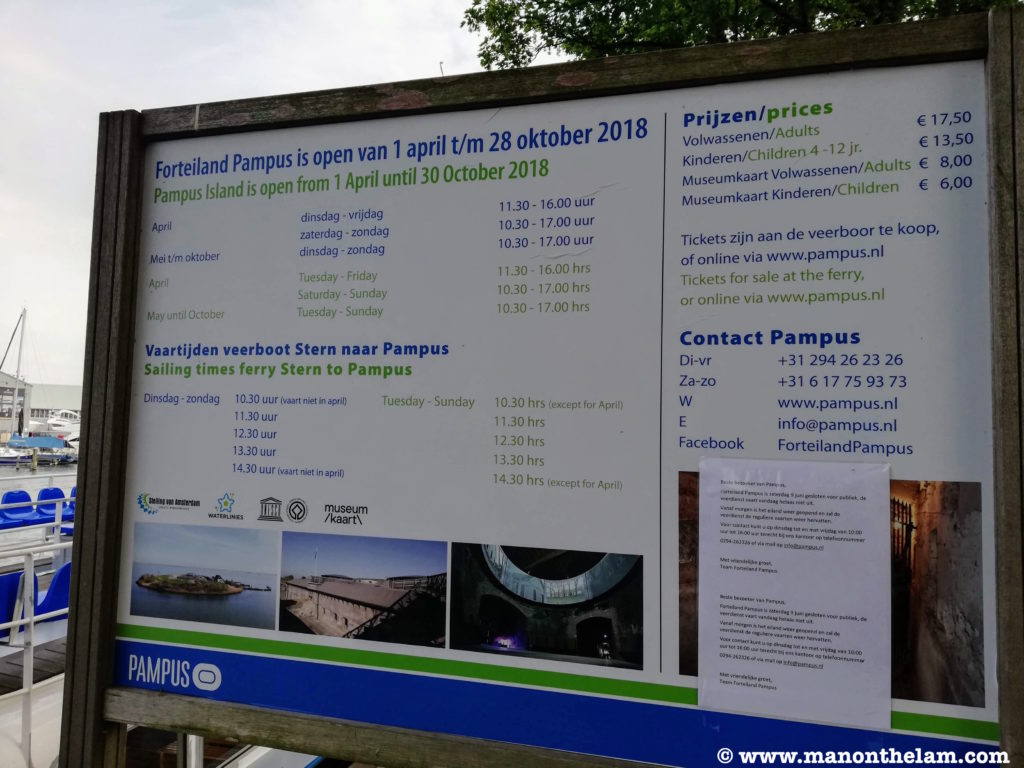 Pampus island ferry schedule and pricing and opening hours Muiden