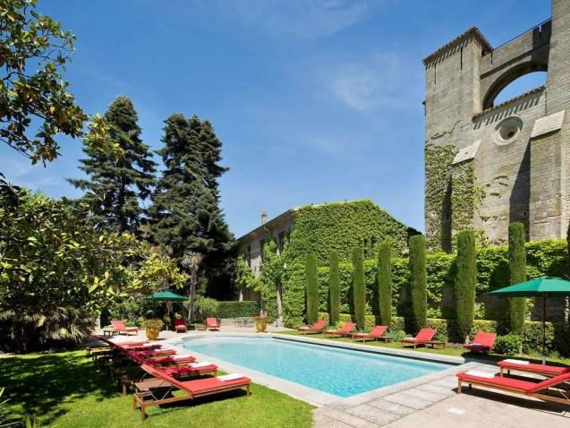 Swimming pool at Hotel de la Cite, Castle Hotel, Carcassonne, France