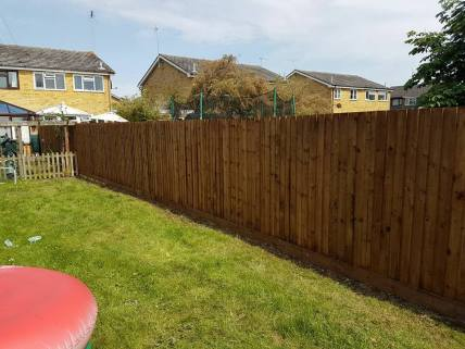 Taking down existing boundary fence all materials taken from site( althorne) Close board fence made on site 2
