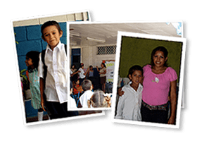 Montage of 3 photos of Nicaraguan teachers and children