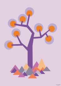 Poster - illustration tree in purple. We have made 5 posters and all are available in both A3 and A5 sizes. A3 Euro 8 - A5 Euro 14