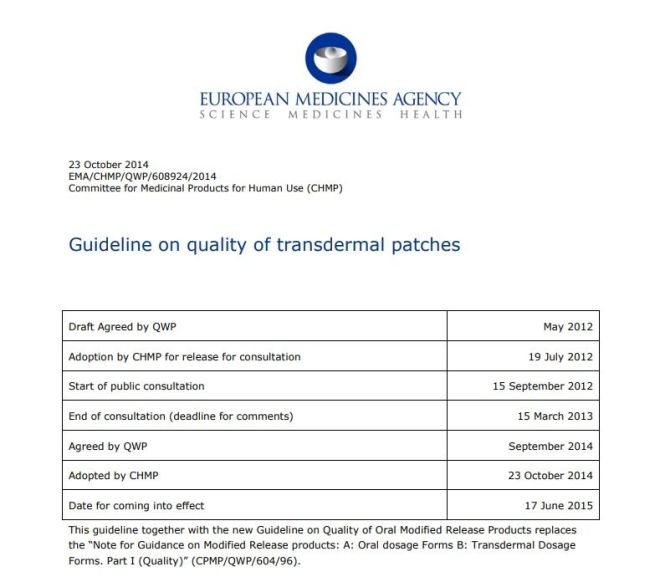 Guideline on quality of transdermal patches – Free PDF Download