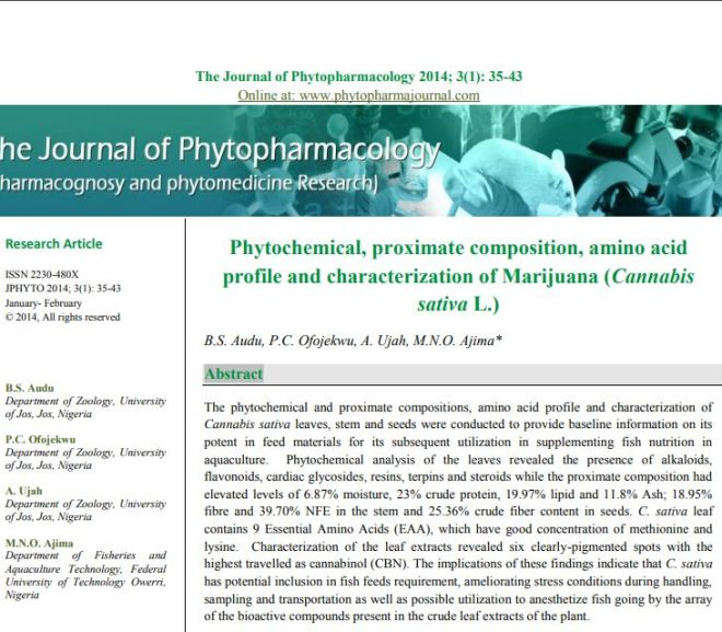 Phytochemical, proximate composition, amino acid profile and characterization of Cannabis sativa L.