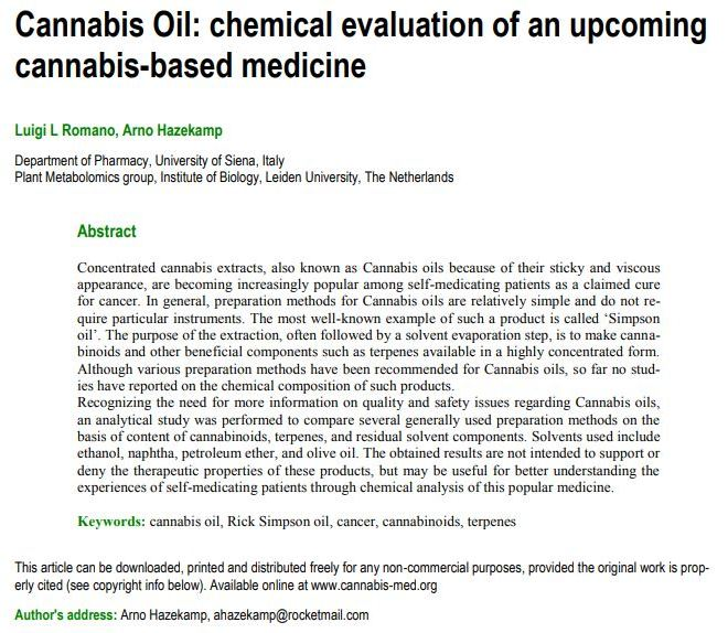 Cannabis Oil: chemical evaluation of an upcoming cannabis-based medicine