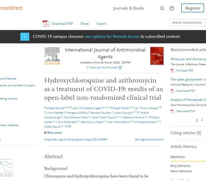 Hydroxychloroquine and azithromycin as a treatment of COVID-19 – Full Article