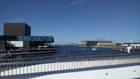 A view up the harbour of the Royal Danish Playhouse (Left) and the Opera House (Right)