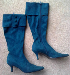 Turquoise suede knee boots