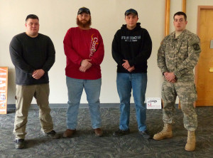 Officers for the new Mansfield Military and Veteran's Organization are (L-R)  Darren Barnard, vice president; Jesse Olson, president; Dustin Ackley, treasurer; Andrew Weiser, secretary.