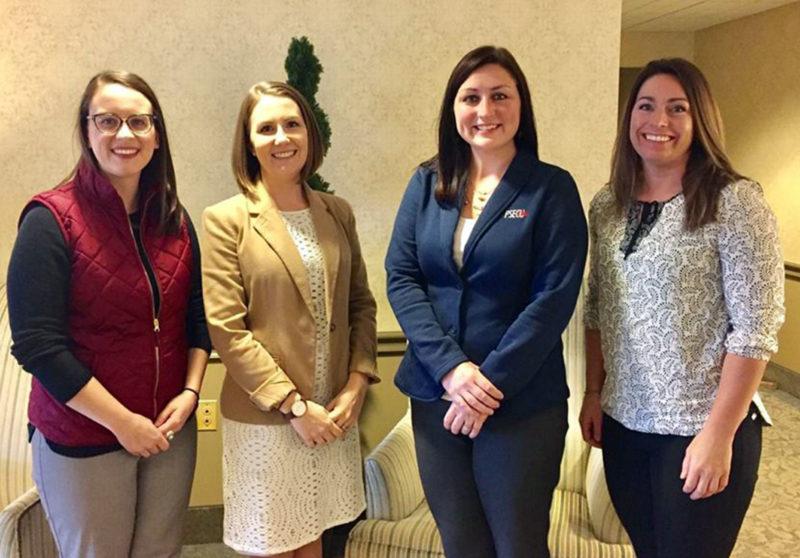(L-R) Meredith Shewell '14, Nichole Lefelhoc, MU Career Center director, Kelly Ann Ryan '05, Heather McCarthy '15 M'17