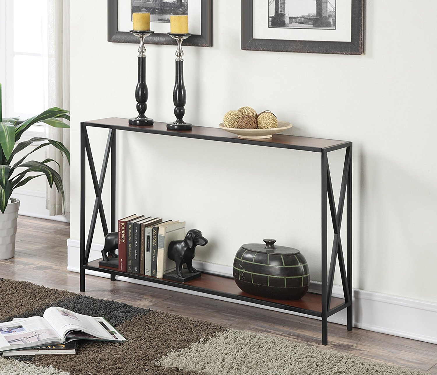 [Review]Convenience Concepts Tucson Collection Console Table, Black/Cherry