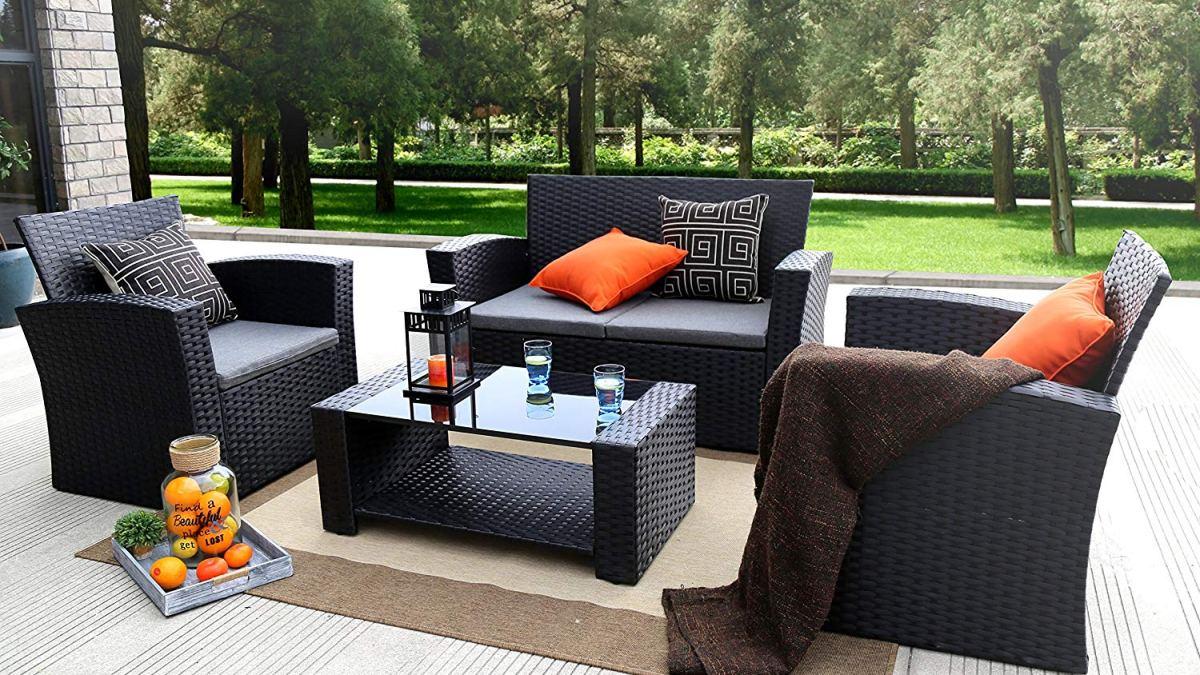 Sensational Review Baner Garden N87 4 Pieces Outdoor Furniture Home Interior And Landscaping Ologienasavecom