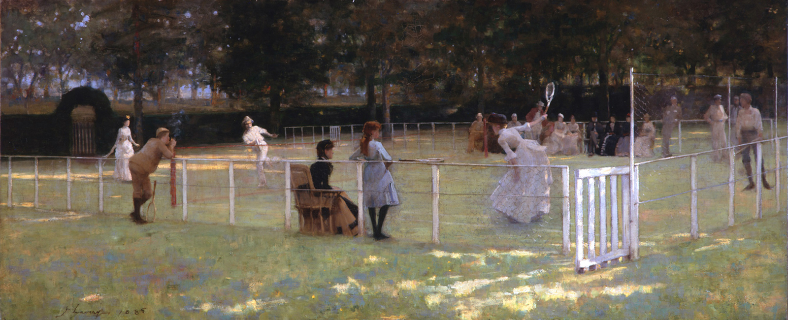 The tennis party *oil on canvas *76.2 x 183 cm *signed b.l.: J Lavery 1885