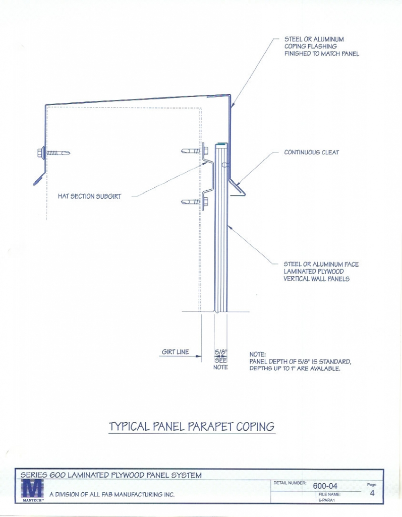 General Specifications for Series 600 Plywood Panel System