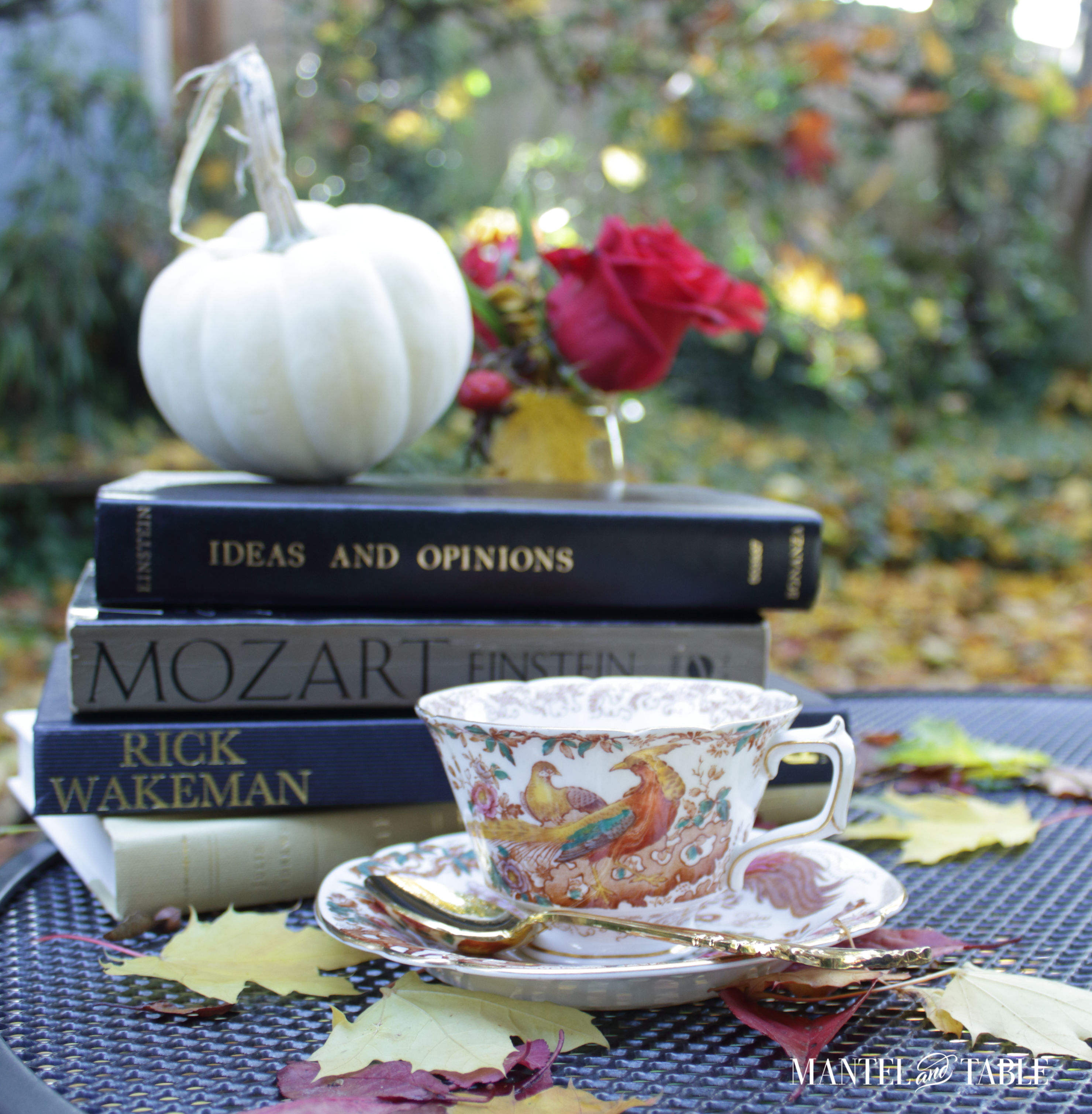 Royal Crown Derby teacup with book stack
