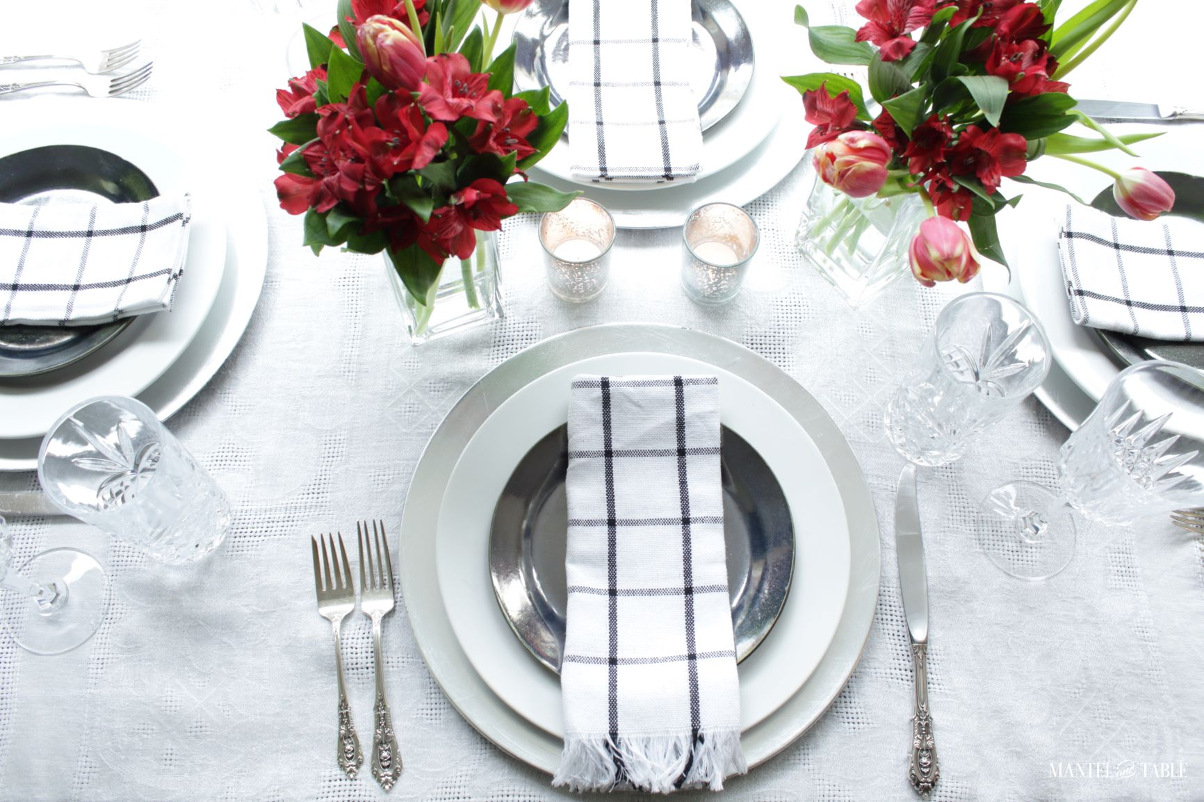 Elegant Spring Picnic tablescape top view
