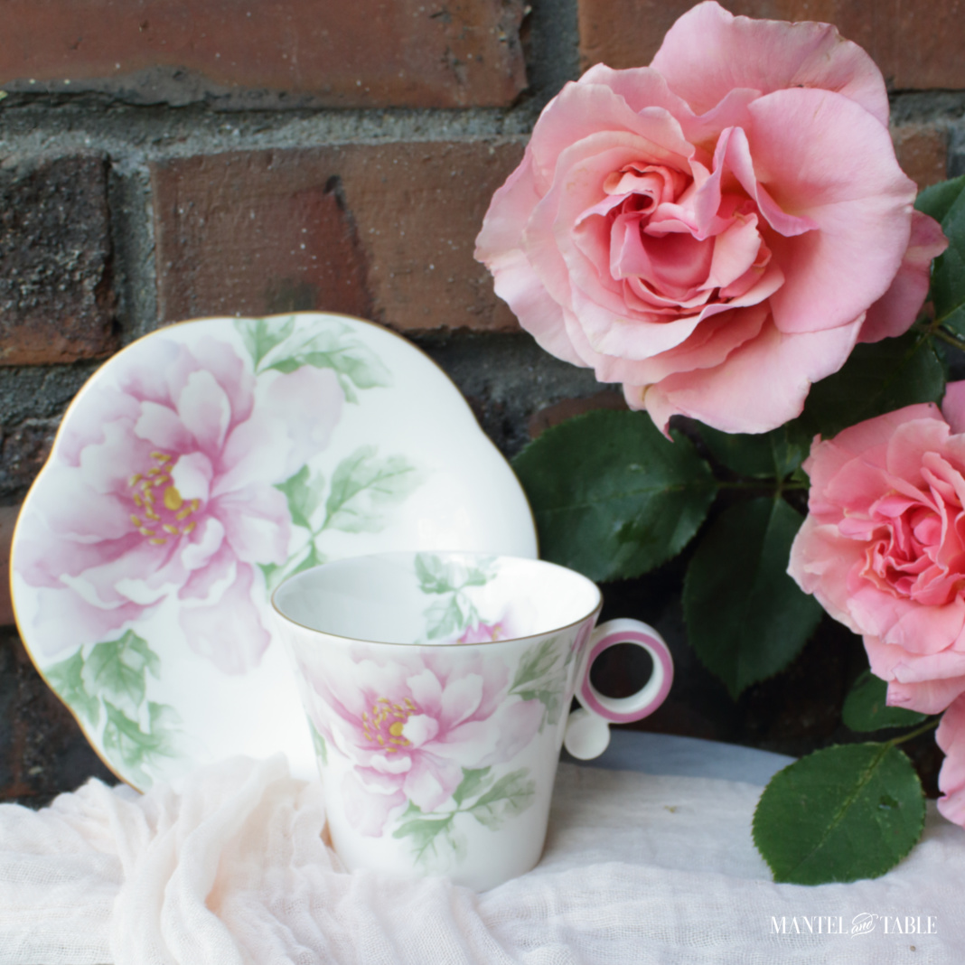 The Traveling Teacup - pink and white flowered cup and saucer against a red brick wall with pink roses