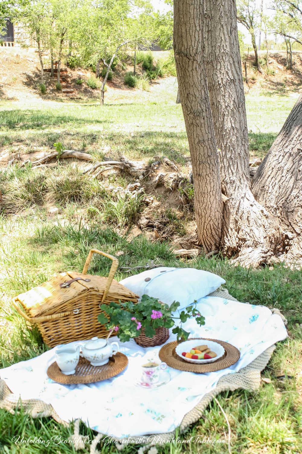 Picnic blanket under tree with basket and tea set