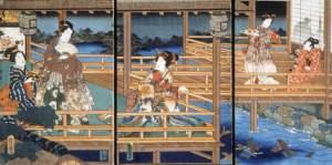 Illustration of a scene from Genji Monogatari