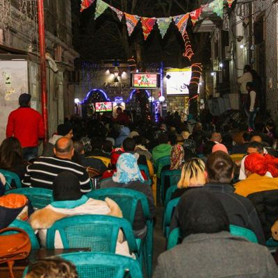 مقهى زهرة البستان أثناء مباراة مصر والمغرب - تصوير صديق البخشونجي