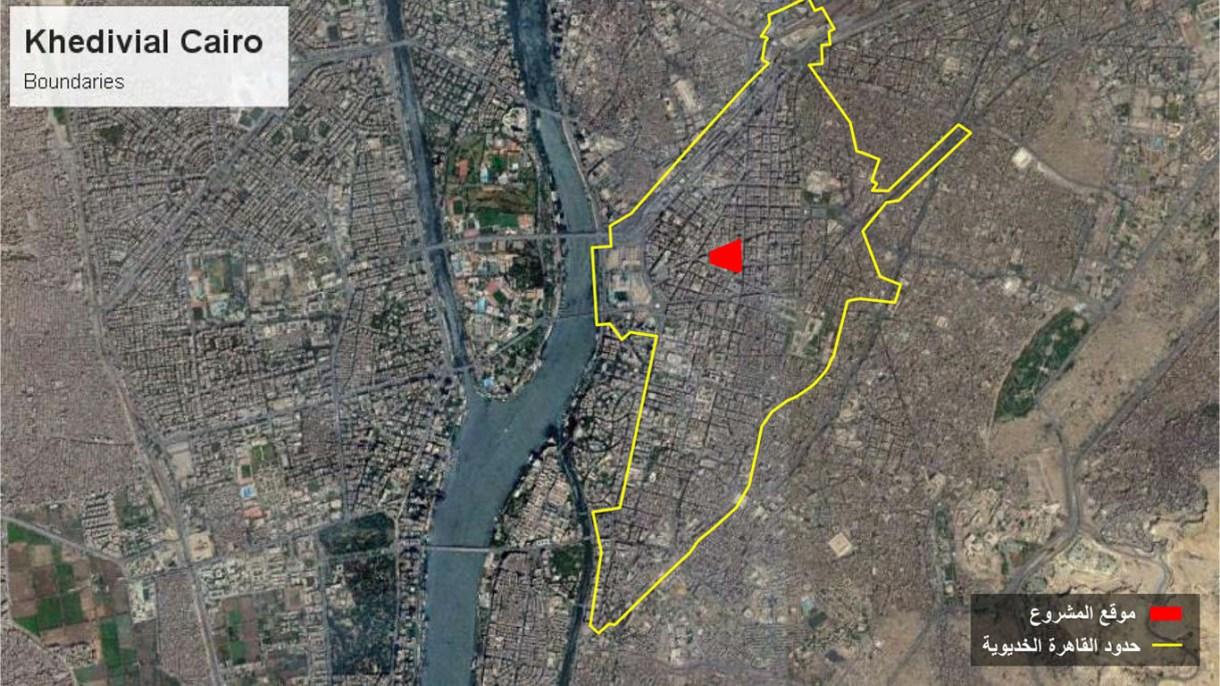 صورة من القمر الصناعي، موضح عليها حدود القاهرة الخديوية باللون الأصفر، وموقع المشروع منطقة البورصة باللون الأحمر