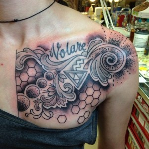 Chest  on woman tattoo by Geno