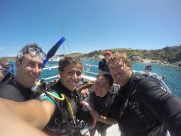 The crew after our first dives with Underwater Safaris