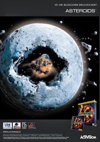 Anzeige »Asteroids« für das kultige PC & Playstation Spiel (Layout 1998)