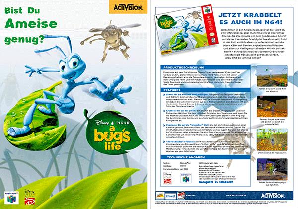 Sales Sheet »Bugs Life« für Nintendo64; Disney/Pixar/Activision