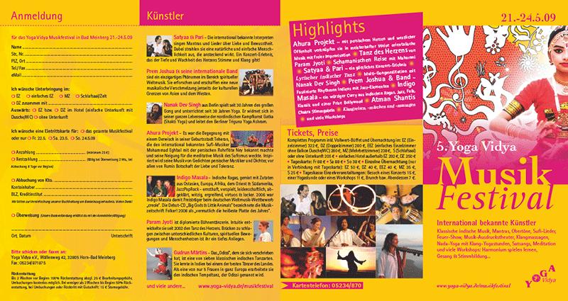 »Yoga Vidya Musikfestival 2009« Faltblatt (Prototyp)