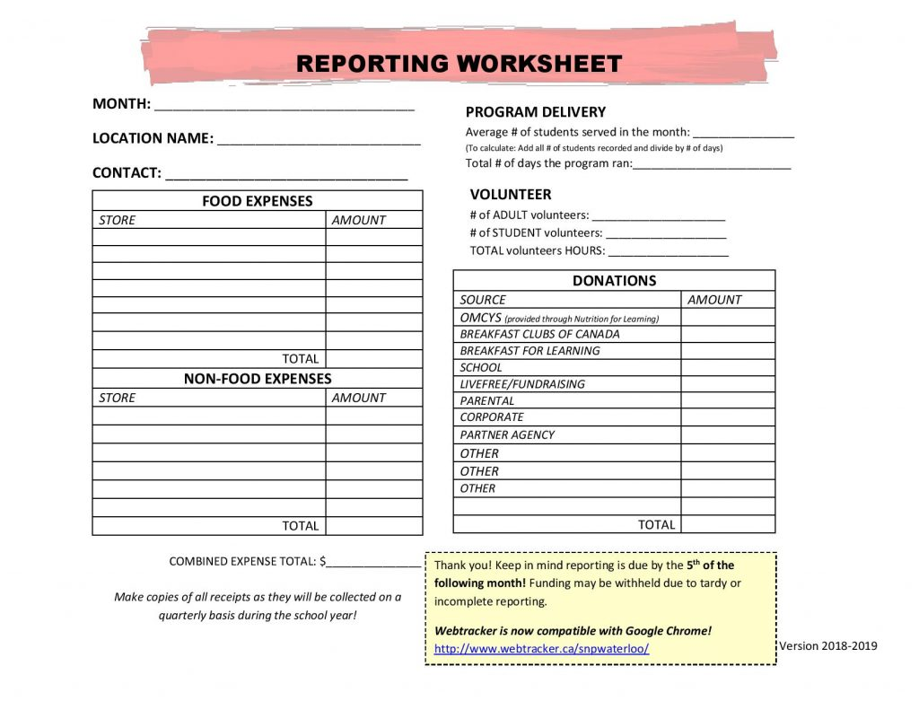 Helpful Reporting Worksheet Program Coordinator Resources