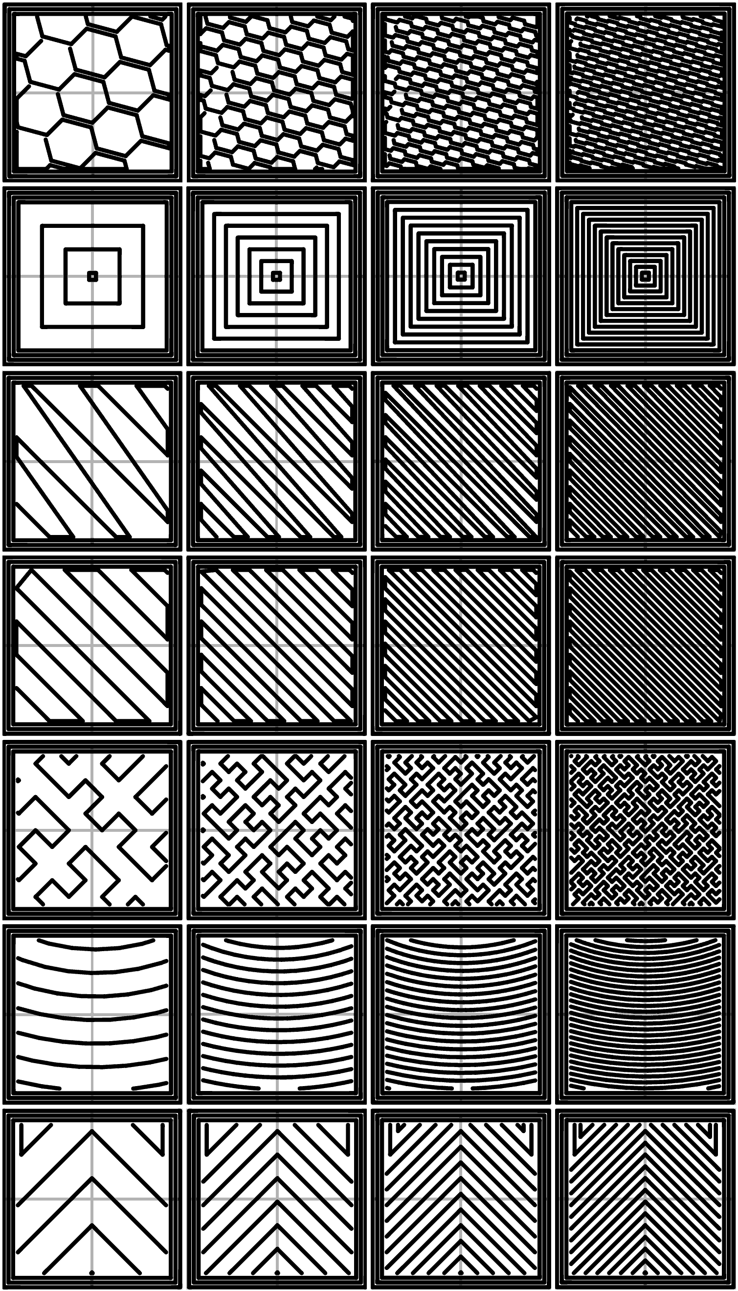 Infill patterns at varying densities. Left to Right: 20%,40%,60%,80%. Top to Bottom: Honeycomb, Concentric, Line, Rectilinear, Hilbert Curve, Archimedean Chords, Octagram Spiral