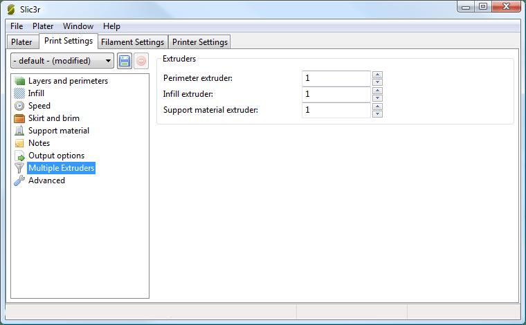 Multiple extruder options - Print Settings Tab.