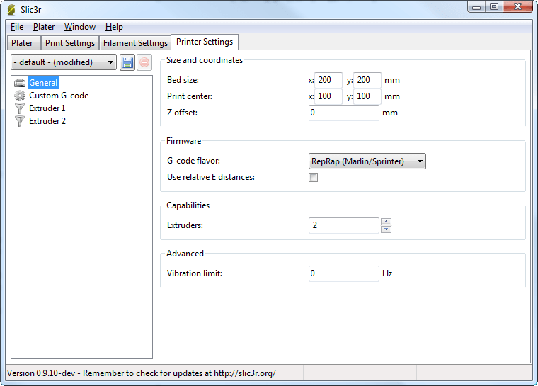 Multiple extruder options - Printer Settings Tab (General). Note the two extruders defined in the left-hand pane.