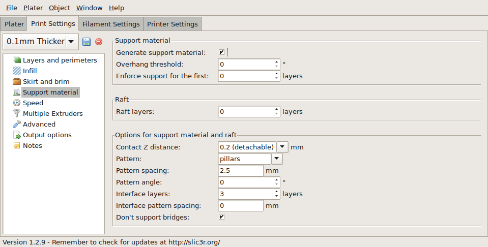 Support structure options.