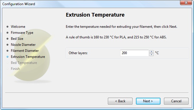 Configuration Wizard: Extrusion Temperature