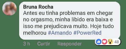 Imagem de depoimento sobre o power red da Bruna Rocha postado nas redes sociais