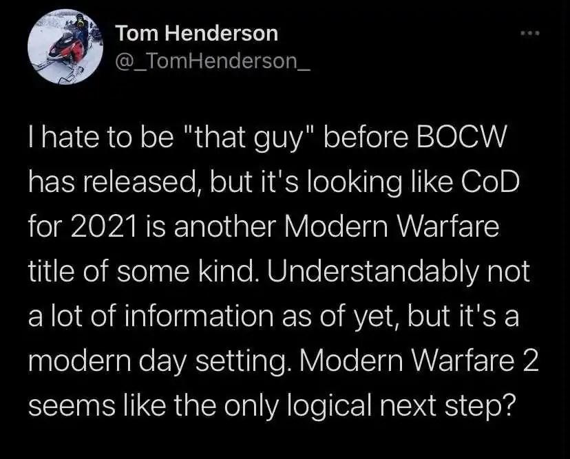 COD 2021 deve ser um novo Modern Warfare