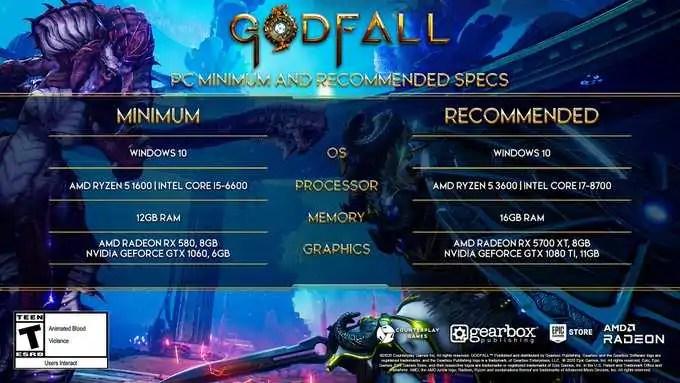 Godfall | Requisitos mínimos e recomendados para PC