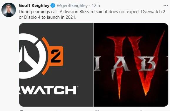 Overwatch 2 e Diablo 4 não serão lançados em 2021