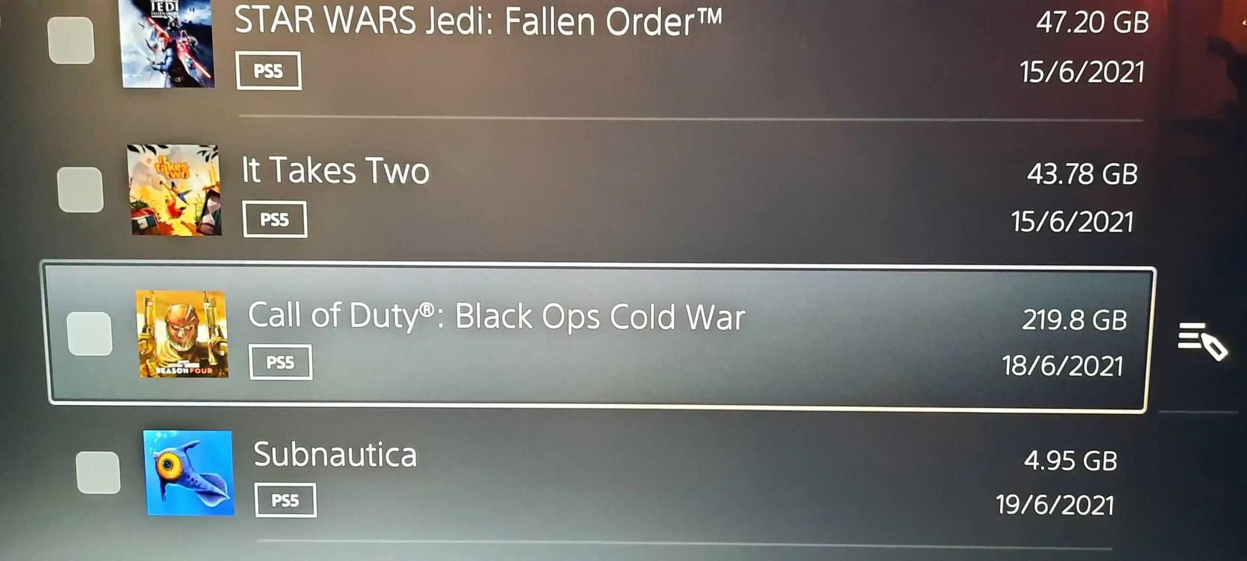 CoD Black Ops Cold War ocupa um terço do HD do PS5