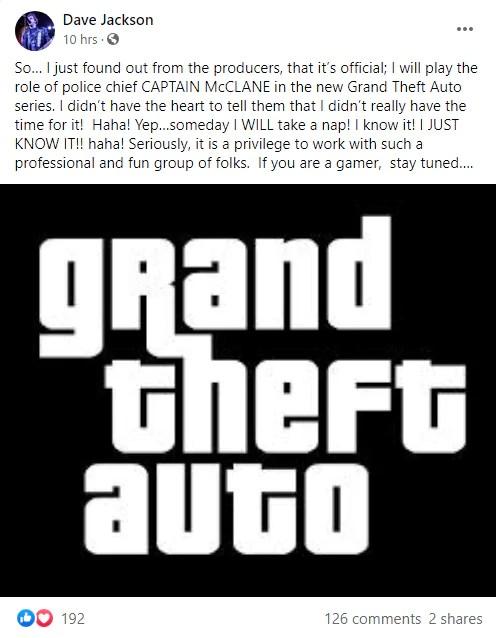 Ator afirma estar interpretando um novo personagem no próximo GTA