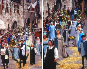 Calendimaggio, festa medieval em Assis, Itália