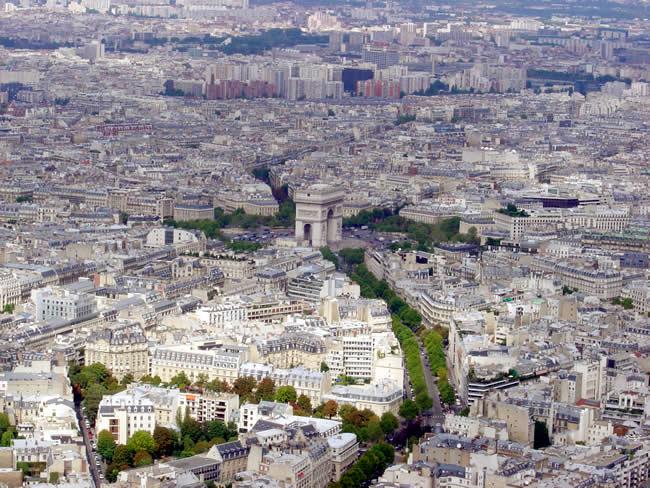 Arco do Triunfo, foto tirada da Tour Eiffel
