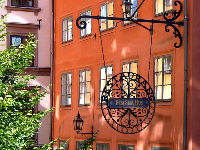 Detalhe, centro histórico, Estocolmo, na Suécia