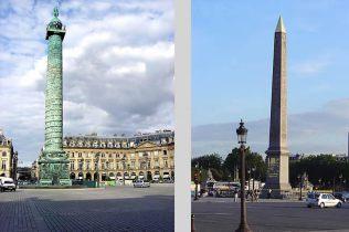 Place Vendome, a esquerda, place de la Concorde, à direita