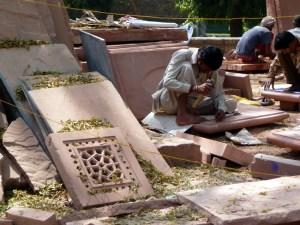 Trabalhos de restauração no Red Fort