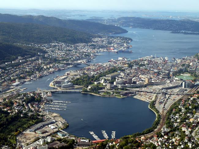Vista panorâmica de Bergen, Noruega