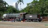 Locomotiva antiga no Centro Cultural Catavento, São Paulo