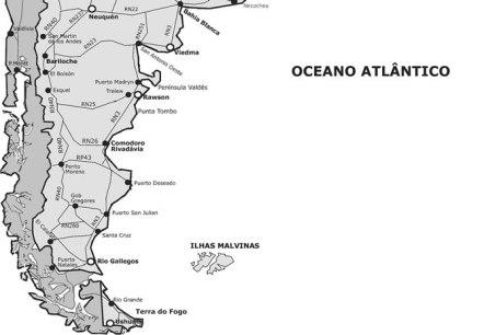 Mapa do sul da Argentina