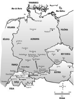 Mapa da Alemanha, Áustria, Suíça, República Tcheca
